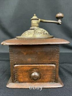 Coffee Grinder Manual Hand Crank Wood & Brass Cast Iron Primitive Antique