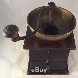 Coffee Spice Grinder Dated 1848 Cherry Dovetailed Brass Iron Lancaster County PA