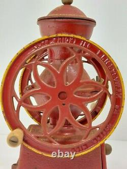 Countertop Antique Cast Iron Coffee Grinder Mill 11 3/4 Made by John Wright Inc
