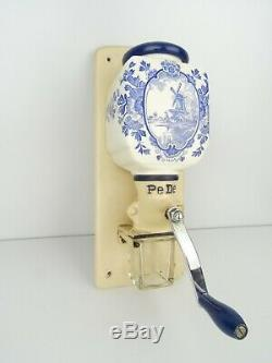 Delft Dutch Blue Wall Coffee Mill PeDe Grinder Vintage (Zassenhaus era) Holland