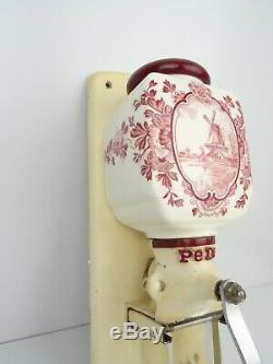 Delft Dutch Red Wall Coffee Mill PeDe Grinder Vintage Holland Zassenhaus era