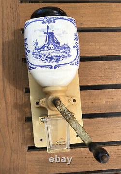 Delft Dutch Wall Coffee Mill Grinder Vintage Zassenhaus Holland
