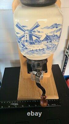 Dutch Holland Delft Blue and White Coffee Grinder Table or Counter Top Vintage