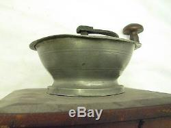 Early Weaver Pewter Top Coffee Lap Grinder Burr Mill Kitchen Tool Dovetailed Box