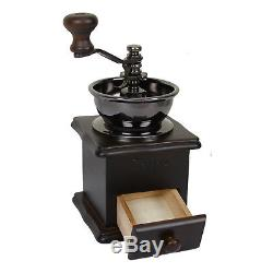 Evelyne Wood Vintage Antique Coffee Bean Mill Windmill Hand Crank Manual Grinder