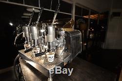 Faema Urania 3 lever espresso machine 1959 + x3 vintage coffee grinders