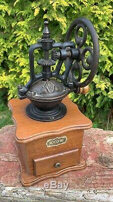 Fantastic Vintage French Metal & Wood Manual Coffee Grinder With Draw