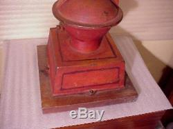 Grand Union Tea Company 1800s Cast Iron Coffee Mill Grinder w Old Red Paint