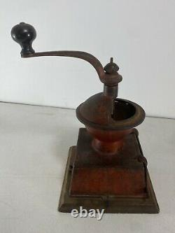 Grand Union Tea Company Coffee Mill Grinder by Griswold Antique Red Paint Cast
