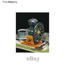 Hand Crank Wheel Manual Cast Iron Coffee Bean Grinder Mill Antique Vintage Burr