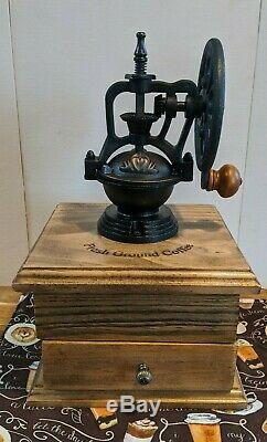 Handcrafted Antique Farmhouse Style Coffee Grinder Mill