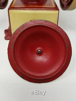 John Wright Wrightsville PA Coffee Mill Two Wheel Grinder Red Cast Iron Vintage