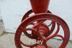 Large Antique ELGIN National Coffee Mill Grinder with Eagle kitchen decor red
