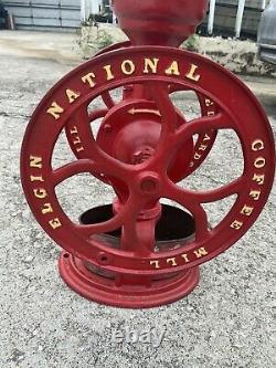 Large Vintage ELGIN #46 National Coffee Mill Grinder Primitive Table Top Vtg