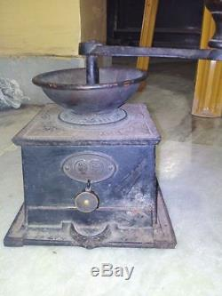 Museum Rare T & C Clark 3 Improved Coffee Grinder MILL Antique Cast Iron & Brass