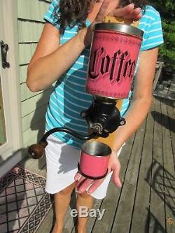 ORIGINAL EARLY 1900's PINK COFFEE GRINDER / MILL IN EXCELLENT RESTORED CONDITION