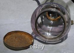 Old ARCADE CRYSTAL Coffee Grinder Amethyst Purple Glass Antique Cast Iron Works