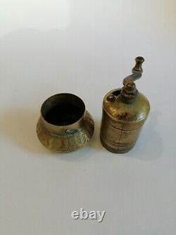 Old Antique Rare Carved Coffee Grinder Copper Brass Mill
