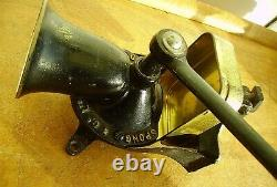 Old Lge Antique Spong Cast Iron Wall Table Mounted Coffee Grinder Mill No. 1 Vtg