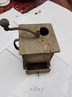Old Vintage Primitive Wood Wooden Coffee Mill Grinder Collect-able Antique Item