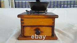 Old Vtg Antique Wood And Iron Wooden Coffee Grinder With Drawer Well Made