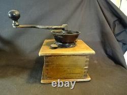 Old Vtg Antique Wood Wooden Coffee Grinder With Drawer
