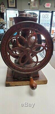 Original Antique CAST IRON ENTERPRISE COFFEE GRINDER MILL Double Wheel Circa1873