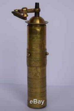 Ottoman antique brass coffee grinder vintage copper mill signed rare old turkish