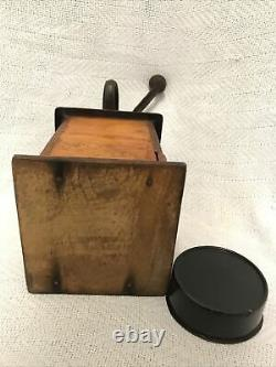 Parker Antique Coffee Grinder Wood and Cast Iron