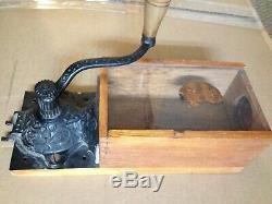 RARE Antique Wall Mount Coffee Grinder with Wood, Glass & Cast Iron Grinder +++