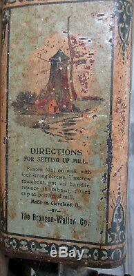 Rare Antique 1901 HOLLAND BEAUTY Coffee Grinder Wall Mount Hand Crank Bean Mill