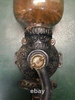 Rare Antique Arcade Crystal #2 Coffee Mill Grinder with Original Sticker & Glass