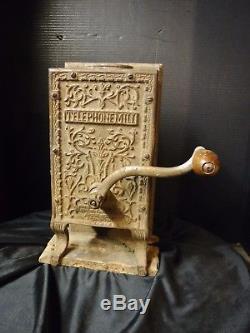 Rare Antique Arcade Telephone Mill COFFEE GRINDER Cast Iron & Oak general store