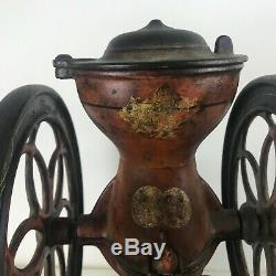 Small Antique 1873 Pat. Cast Iron Double 8.5 Wheel Enterprise Coffee Grinder