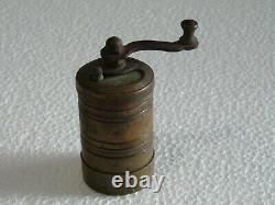 Small Antique 19c Brass Ottoman Coffee/Spice Pepper Grinder Mill Hand Crank