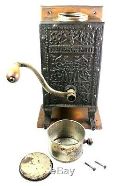 TELEPHONE MILL COFFEE GRINDER Antique ARCADE WALL MOUNT Victorian CAST IRON