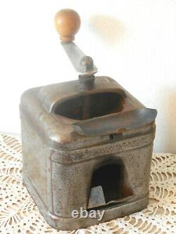 To seize! ANTIQUE French STEEL COFFEE GRINDER MILL with POURING DRAWER RARE