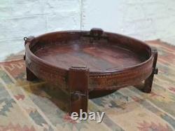 Tribal Chakki Antique Grinder Full Round Coffee Table Brown 85 x 85 x 30 cm