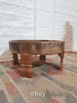 Tribal Chakki Antique Grinder Full Round Coffee Table Natural 60 x 60 x 30 cm