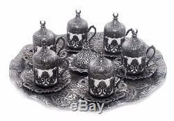 Turkish Coffee- Espresso Set for 6 person Antique silver