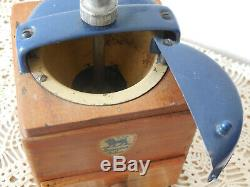VINTAGE FRENCH PEUGEOT FRERES Coffee Grinder Mill Manual Hand Crank BLUE