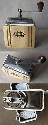 VINTAGE OLD GERMAN WOODEN COFFEE GRINDER MILL GESKA / 1940s