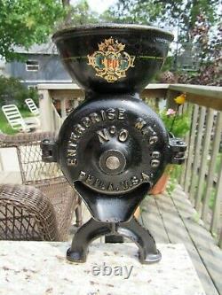 VINTAGE ORIGINAL 1880's ENTERPRISE MFG CO. #0 COFFEE MILL / GRINDER PHILA, PA