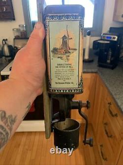 Very Rare Bronson-Walton Co. Tin Holland Beauty Coffee Grinder With Catch Cup