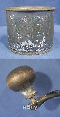 Vintage Antique Always Ready Blue Tin Coffee Grinder Mill Wall Mount 16.25 High