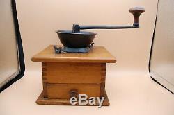 Vintage Antique American Parker Wood+Metal Coffee Mill/Grinder