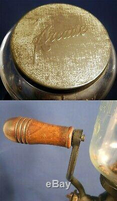 Vintage Antique Arcade 25 Cast Iron Coffee Grinder Wall Mount Crystal Glass
