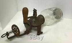 Vintage Antique Arcade Cast Iron Crystal Glass Coffee Grinder