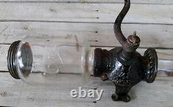 Vintage Antique Cast Iron Arcade Crystal No. 3 Coffee Grinder Mill with Bean Jar
