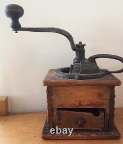 Vintage Antique Coffee Grinder Primitive Dovetailed Original